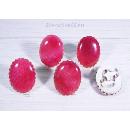 Большое кольцо агат вены дракона розовое 30*40 - 1