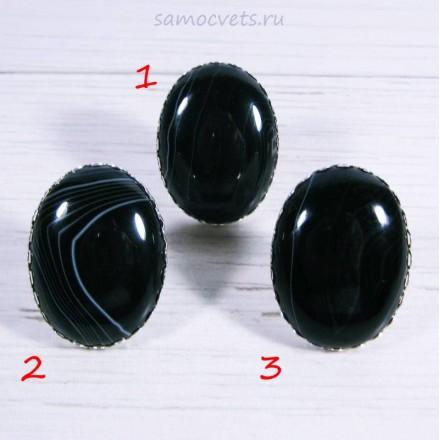 Перстень чёрно-белый агат большой камень 30х40 мм - 1