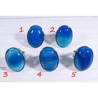 Большое кольцо с камнем синий агат