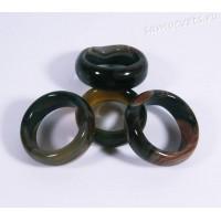 Кольцо из камня серо-коричневый агат 8 мм
