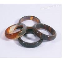 Кольцо из камня серо - оранжевый агат 5 мм