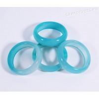 Кольцо из камня голубой агат 5 мм