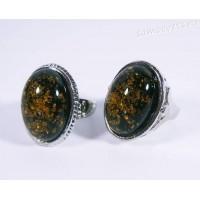 Кольцо зелёный янтарь имитация - Микс