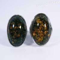 Кольцо имитация зелёного янтаря - Микс