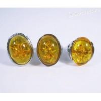 Кольцо медовый янтарь имитация - Микс
