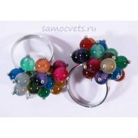 Кольцо Разноцветные Агаты Бусинки