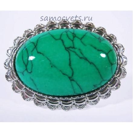 Кольцо кабошон 20х30 мм с Зелёной Бирюзой искусств.