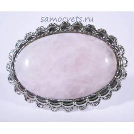 Кольцо кабошон 20х30 мм с Розовым кварцем