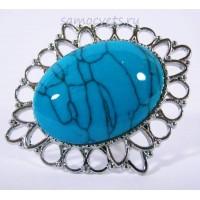 Кольцо с Голубой Бирюзой искусств. кабошон 18х25 мм