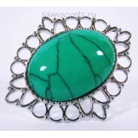 Кольцо с Зелёной Бирюзой искусств. кабошон 18х25 мм