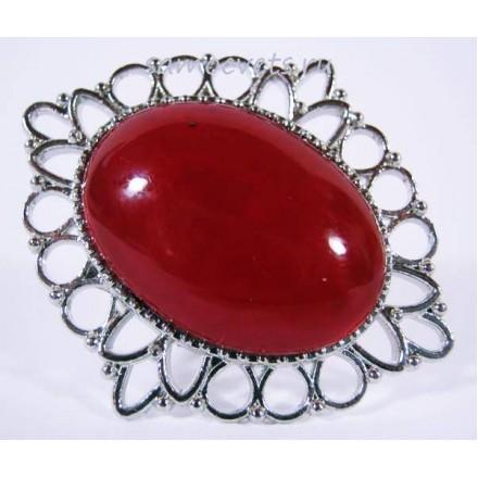 Кольцо с Красным Кораллом искусств. кабошон 18х25 мм