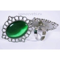 Кольцо Зелёный Кошачий глаз искусств. кабошон 18х25 мм
