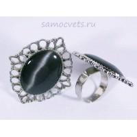 Кольцо Чёрный Кошачий глаз искусств. кабошон 18х25 мм
