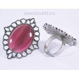 Кольцо Розовый Кошачий глаз искусств. кабошон 18х25 мм