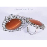 Кольцо Оранжевый Кошачий глаз искусств. кабошон 18х25 мм