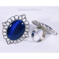 Кольцо Синий Кошачий глаз искусств. кабошон 18х25 мм