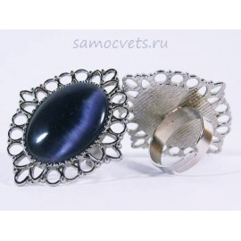 Кольцо Фиолетовый Кошачий глаз искусств. кабошон 18х25 мм