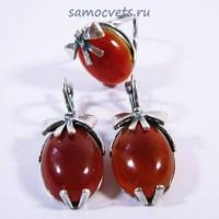 Гарнитур серьги + кольцо Халиме клубничка Сердолик