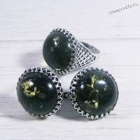 Комплект зелёный янтарь имитация Кольцо + Серьги Азалия