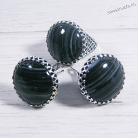 Комплект чёрный агат Кольцо + Серьги Азалия