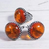 Комплект янтарь имитация Кольцо + Серьги Азалия
