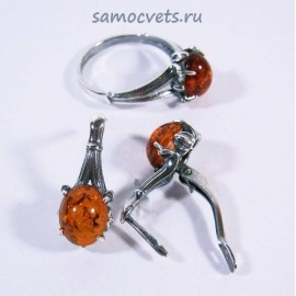 Комплект Янтарь имитация Медовый Кольцо + Серьги Гульназ