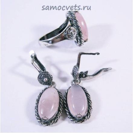 Винтажный Комплект с Розовым кварцем кольцо + серьги