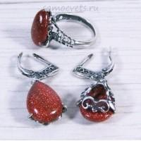 Гарнитур серьги + кольцо Коричневый Авантюрин искусств.