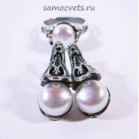 Гарнитур с Жемчугом Белый Муза 4 кольцо + серьги