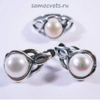 Гарнитур Белый Жемчуг Муза 7 серьги + кольцо