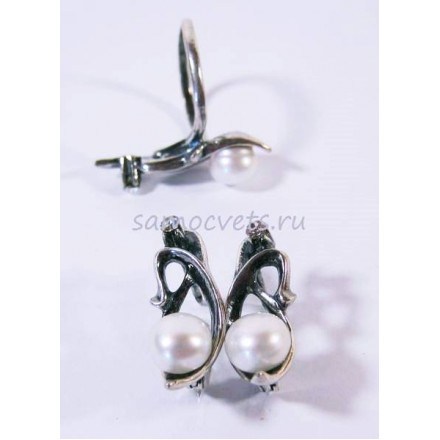 Гарнитур с Жемчугом Белый Муза 6 серьги + кольцо