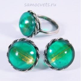 Комплект Муранское стекло серьги - кольцо