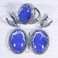 Комплект серьги + кольцо худож. стекло - под лазурит