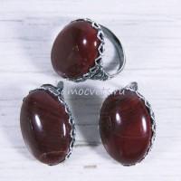Комплект кольцо и серьги красная яшма