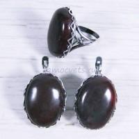 Комплект серьги + кольцо красная яшма Бижу 2