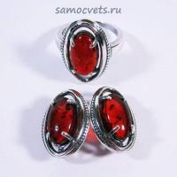 """Комплект Серьги Кольцо Янтарь искусств. """"Бижу"""""""