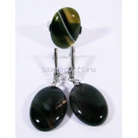 Агатовый Комплект Кабошон серьги + кольцо Серый Агат