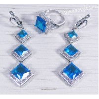 Комплект с ярко - голубыми кристаллами - Вечерний