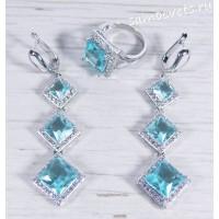 Комплект с голубыми кристаллами - Вечерний