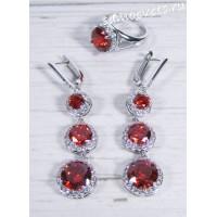 Комплект красный фианит (цвет шпинель) - Вечерний
