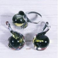 Комплект зелёный нтарь имитация серьги + кольцо
