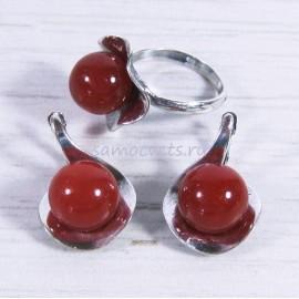 Гарнитур из Сердолика серьги + кольцо