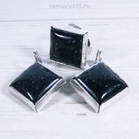 Комплект с Синим Авантюрином искусств. кольцо + серьги ромб