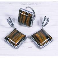 Комплект из Тигрового глаза кольцо + серьги ромб