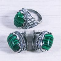 Комплект кольцо + серьги с малахит искусств. Айнур