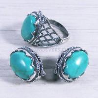 Комплект кольцо + серьги с бирюза искусств. Айнур