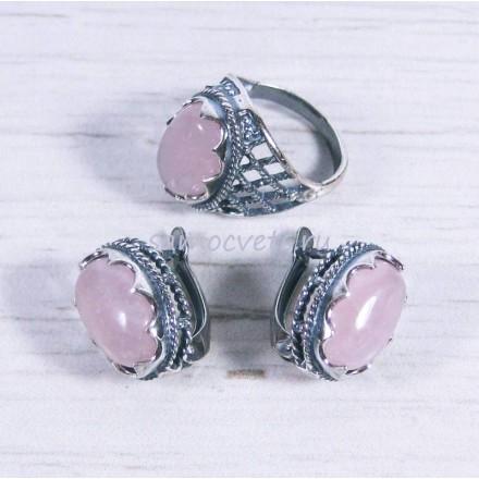 Комплект розовый кварц серьги - кольцо Айнур