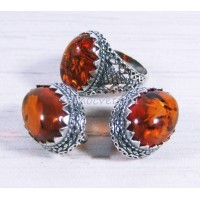 Комплект янтарь имитация кольцо + серьги - Айнур