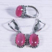 Комплект Розовый Кошачий глаз искусств. кольцо + серьги