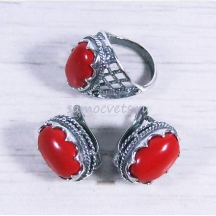 Комплект кольцо + серьги с коралл искусств. Айнур